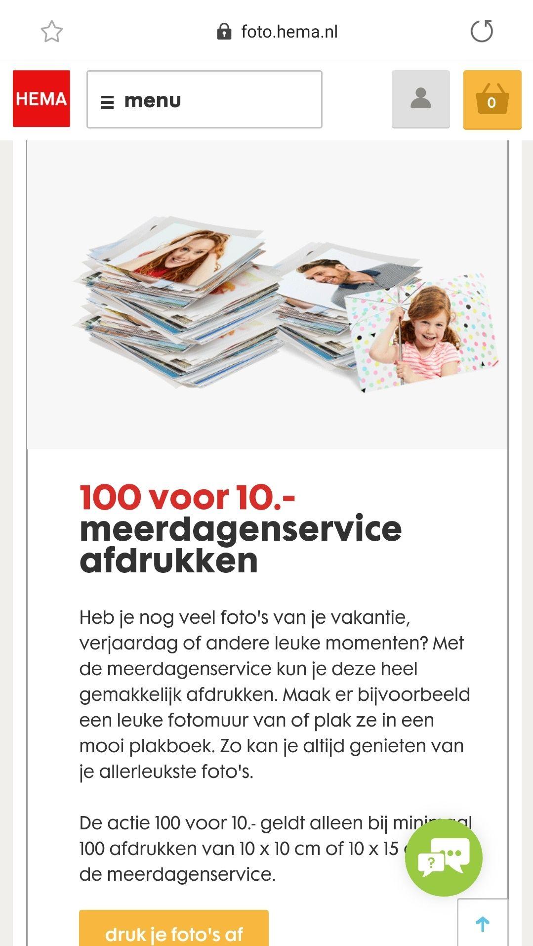 100 foto's €10 @ Hema.nl