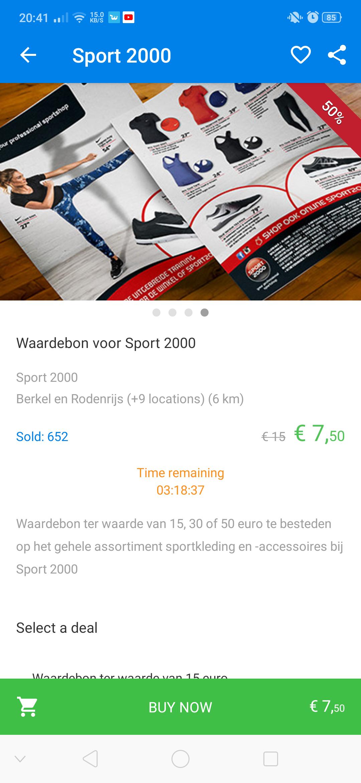 50% korting op waarde bonnen sport2000 (lokaal zie beschrijving)