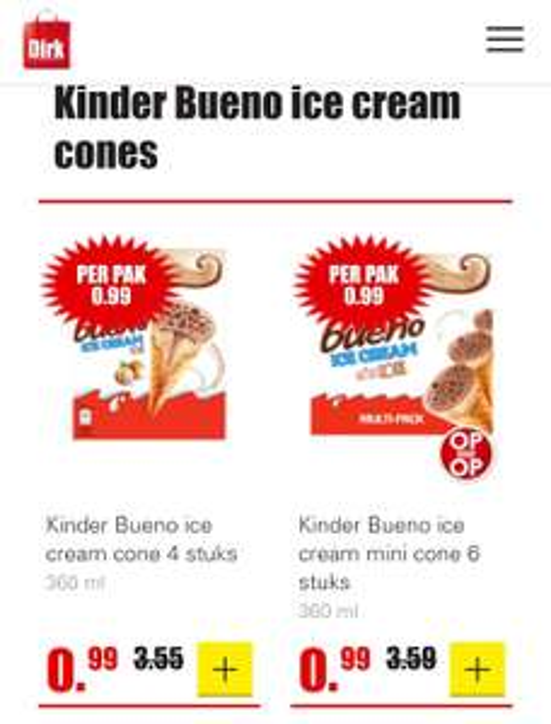 Dirk - Kinder Bueno Ice Cream Cones