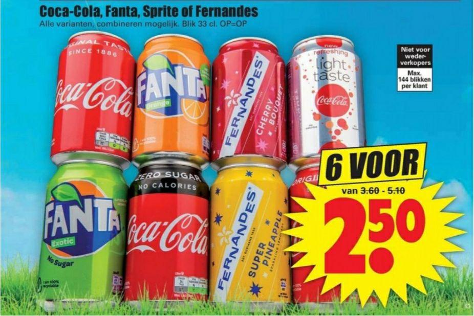 Coca Cola, Fanta, Sprite & Fernandes 6 voor € 2,50