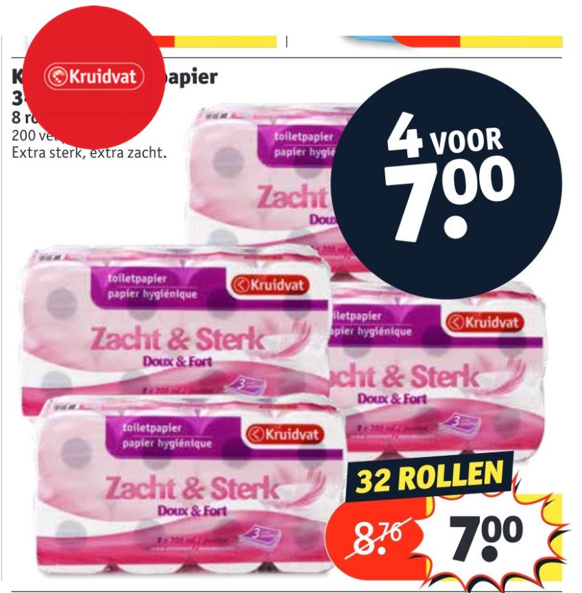 Toiletpapier 4 pakken voor € 7 euro @ Kruidvat