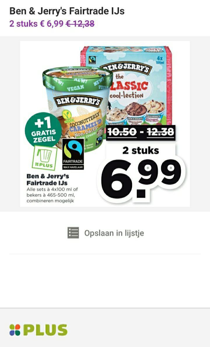 2 stuks Ben & Jerry's ijs voor €6,99 @PLUS