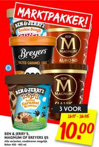 Ben en Jerry's, Magnum of Breyers ijs pints 3 voor €10,- @Dekamarkt