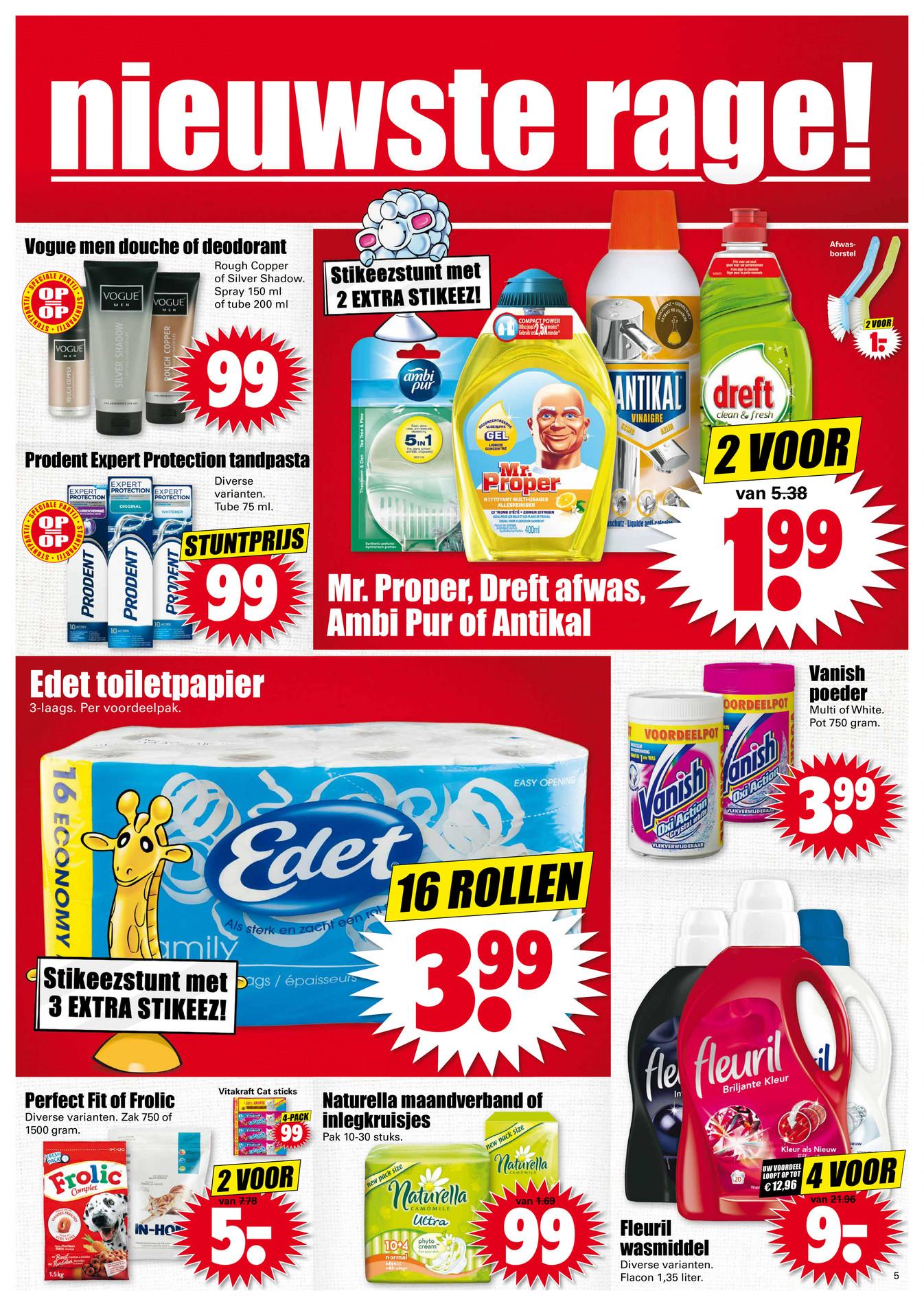 Vier flessen Fleuril Wasmiddel voor €9 @ Dirk
