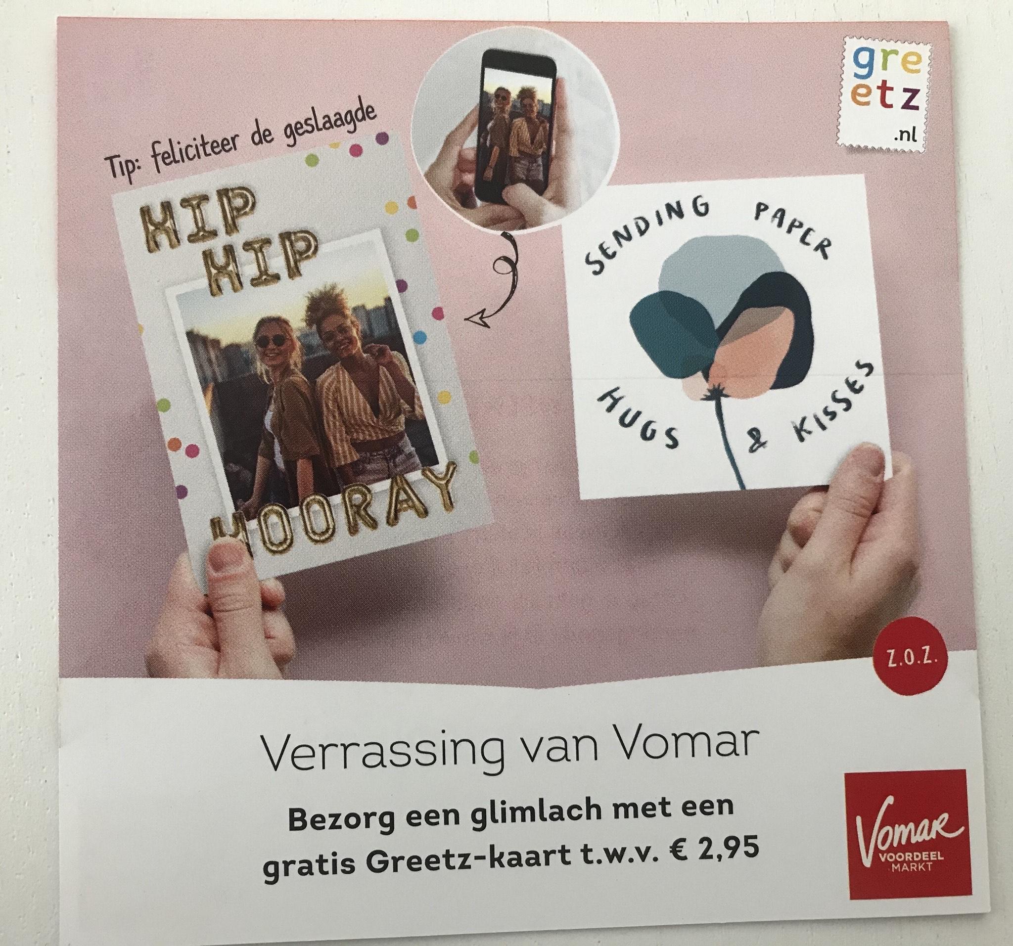 [LOKAAL] @Vomar Gratis Greetz-kaart versturen t.w.v. €2,95 excl. verzendkosten