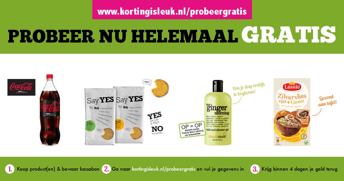 Gratis 4 artikelen t.w.v. 10 euro  (o.a. Coca Cola Zero, Lassie Rijst) @ kortingisleuk.nl