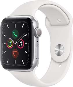 Apple Watch Series 5 (GPS, 44‑mm) kast van zilverkleurig aluminium wit sportbandje - S/M en M/L