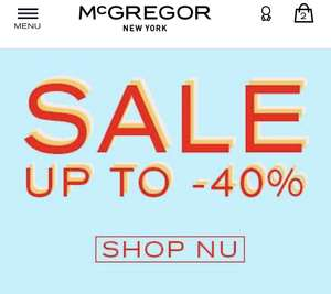 Uitverkoop 40% korting op de collectie van @mcgregor