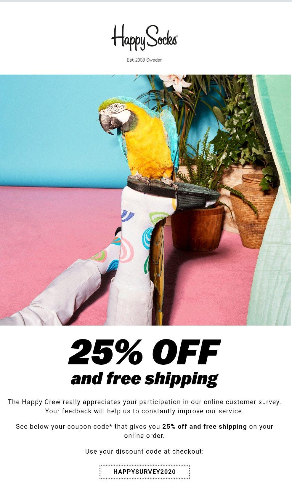 25% korting + gratis verzenden bij Happy Socks