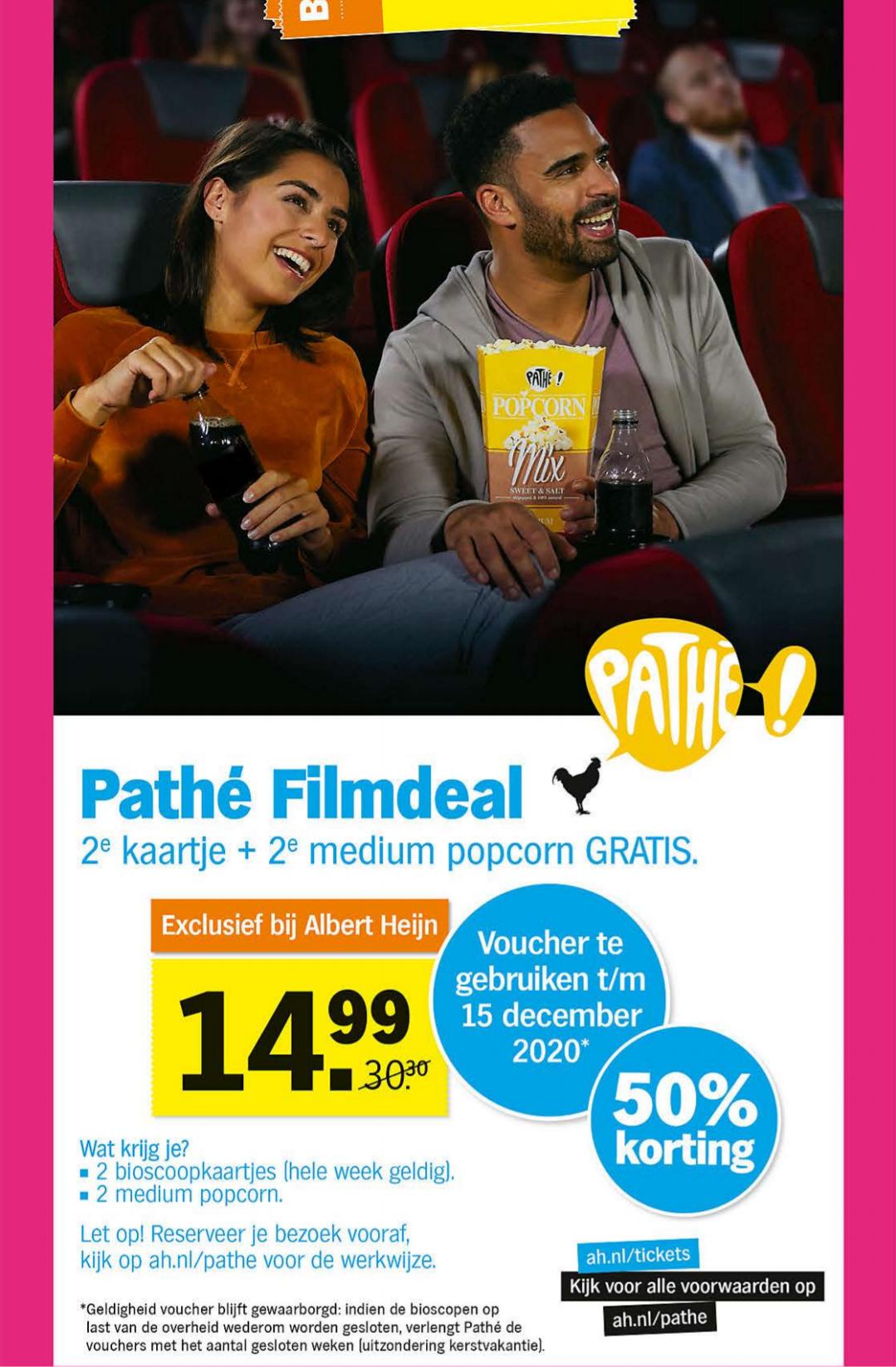 2 Pathé tickets en popcorn voor €14,99