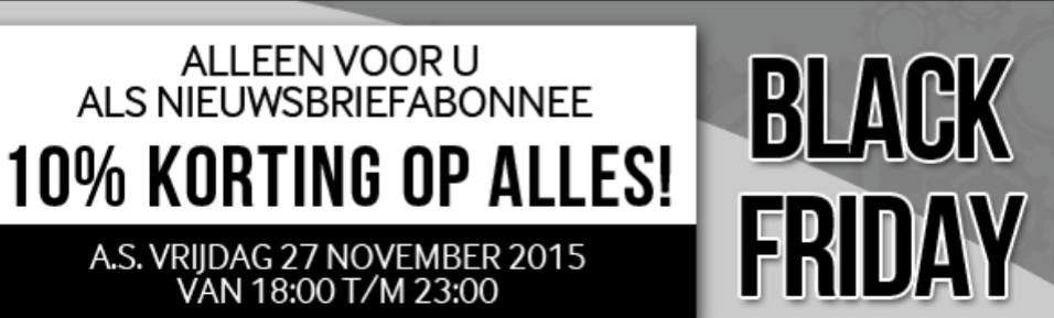 [Black Friday] 10% korting op alles van 18:00 tot 23:00 @ Modern.nl