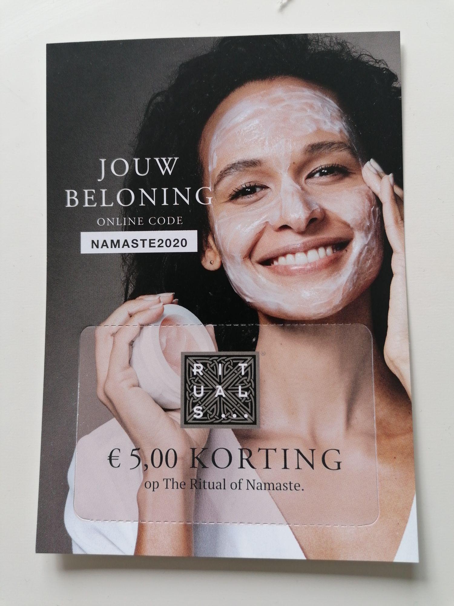 [Rituals] 5 euro korting in de webshop en in de winkel bij aankoop van producten uit de Namaste lijn