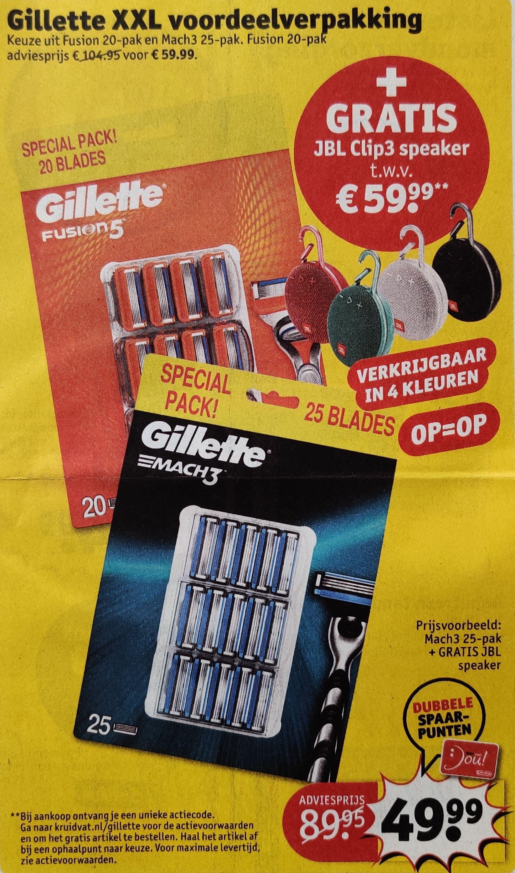 Bij Kruidvat een gratis JBL Clip3 (keuze uit 4 kleuren) bij een Gillette voordeelpak