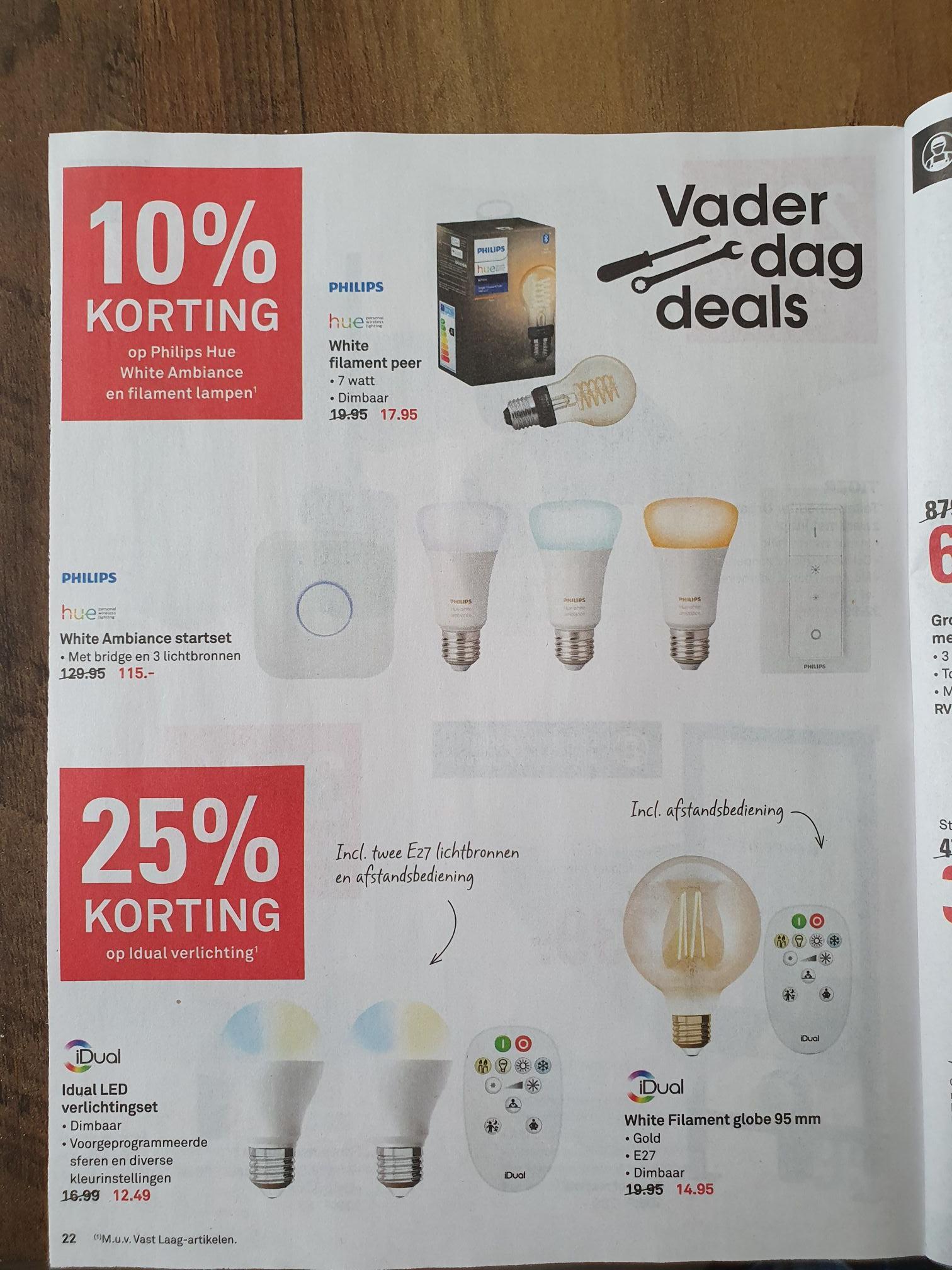 10% korting op Philips Hue White Ambiance en filament lampen @Karwei