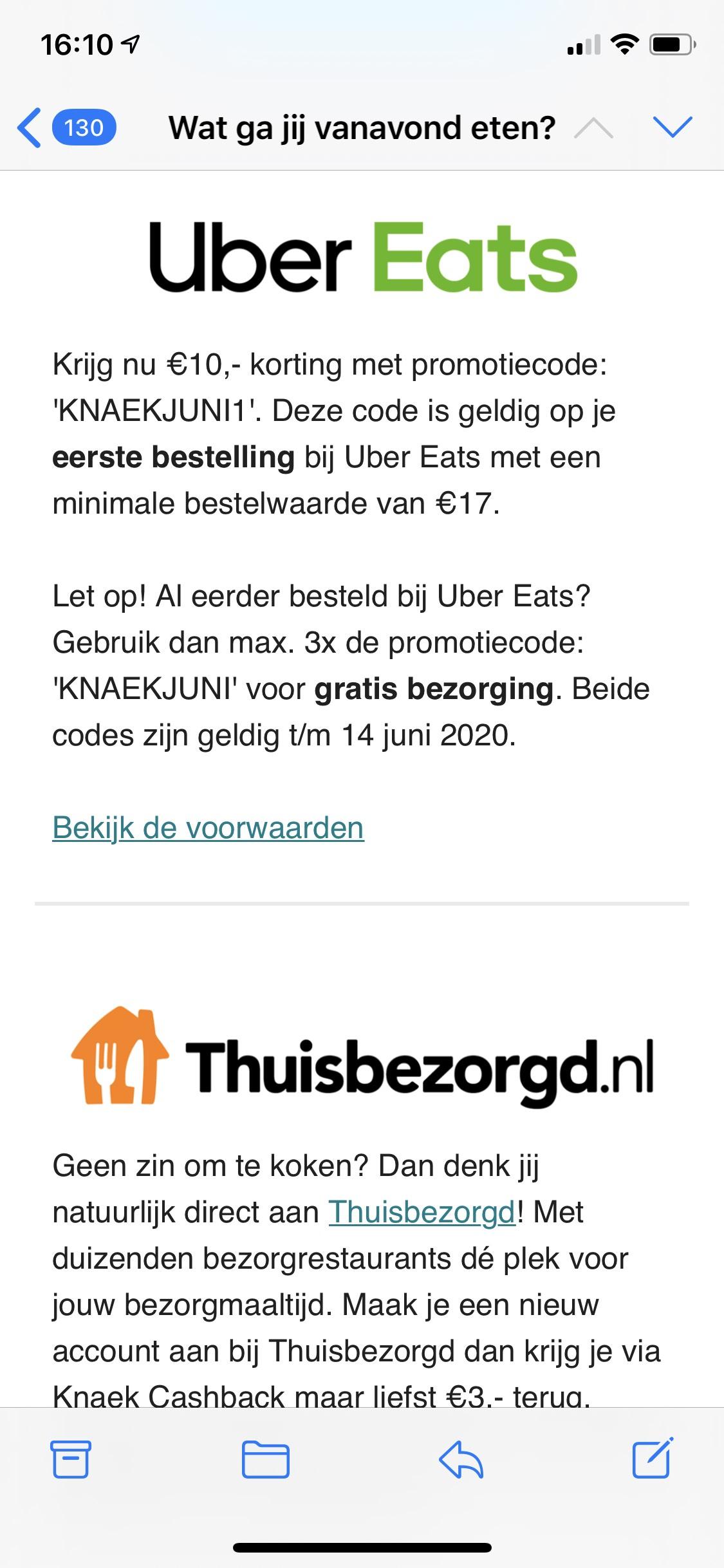€10 korting Uber Eats óf gratis bezorging (3x)