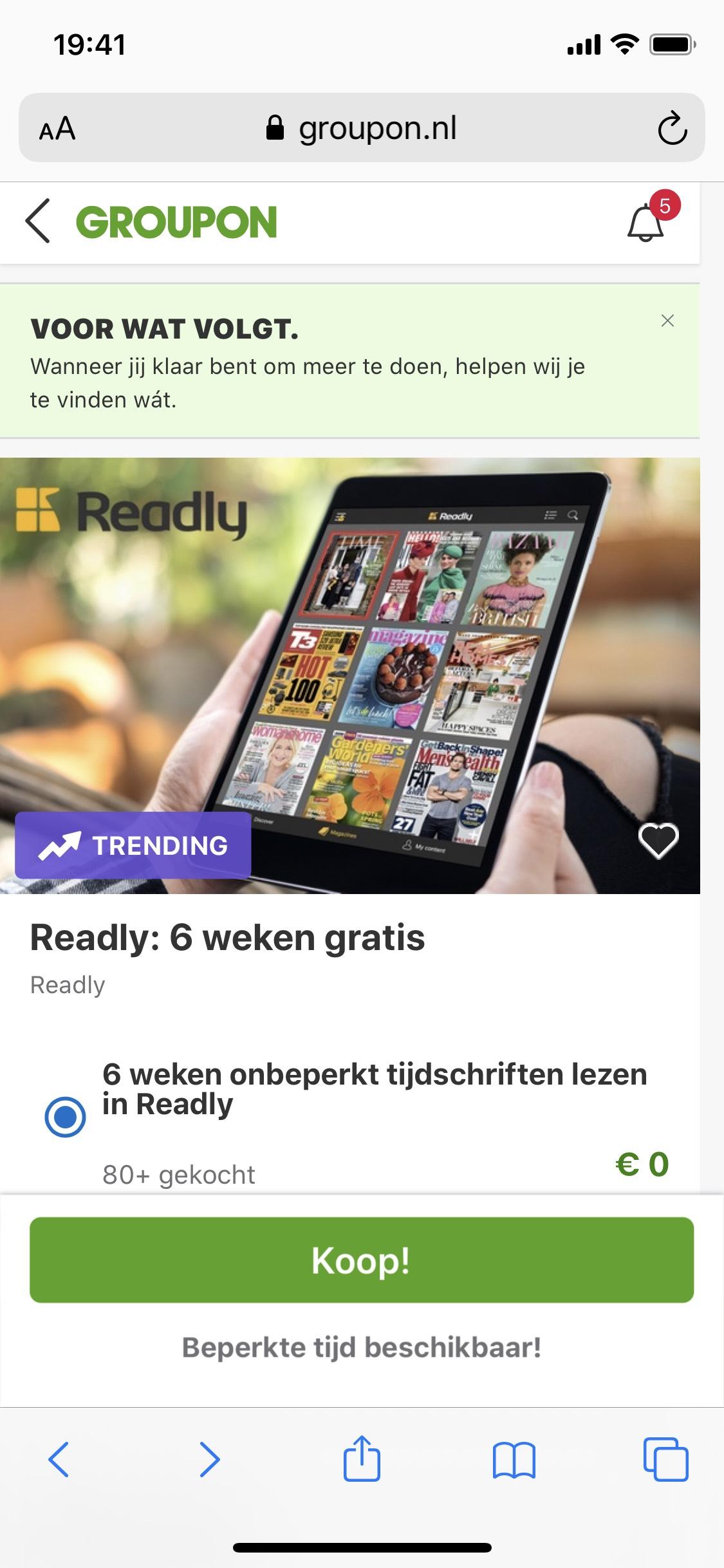 6 weken onbeperkt tijdschriften lezen in Readly