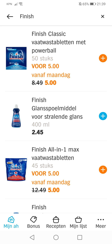 AH bezorgbundel €4 extra korting op Finish, Vanish & Airwick