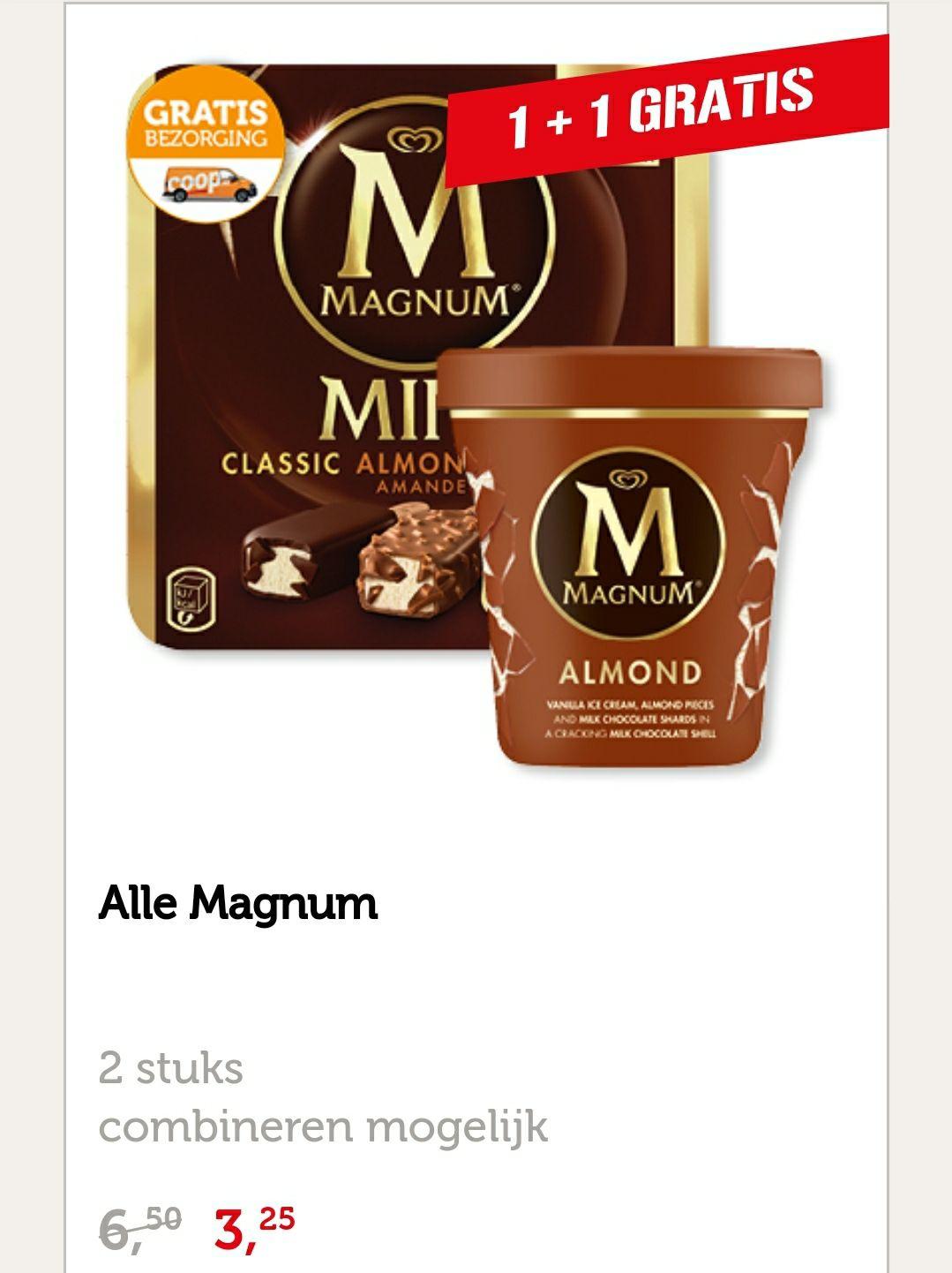 1 + 1 gratis op Magnum ijs @ Coop