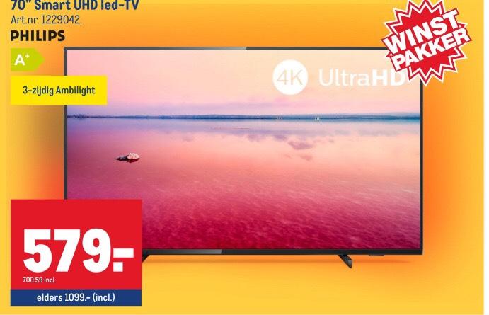 """70"""" Philips Ambilight Smart 4K UHD 70PUS6724 tv bij de Makro"""