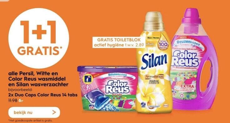 Persill, Witte/color reus wasmiddel en silan 1+1. Incl gratis toiletblok!