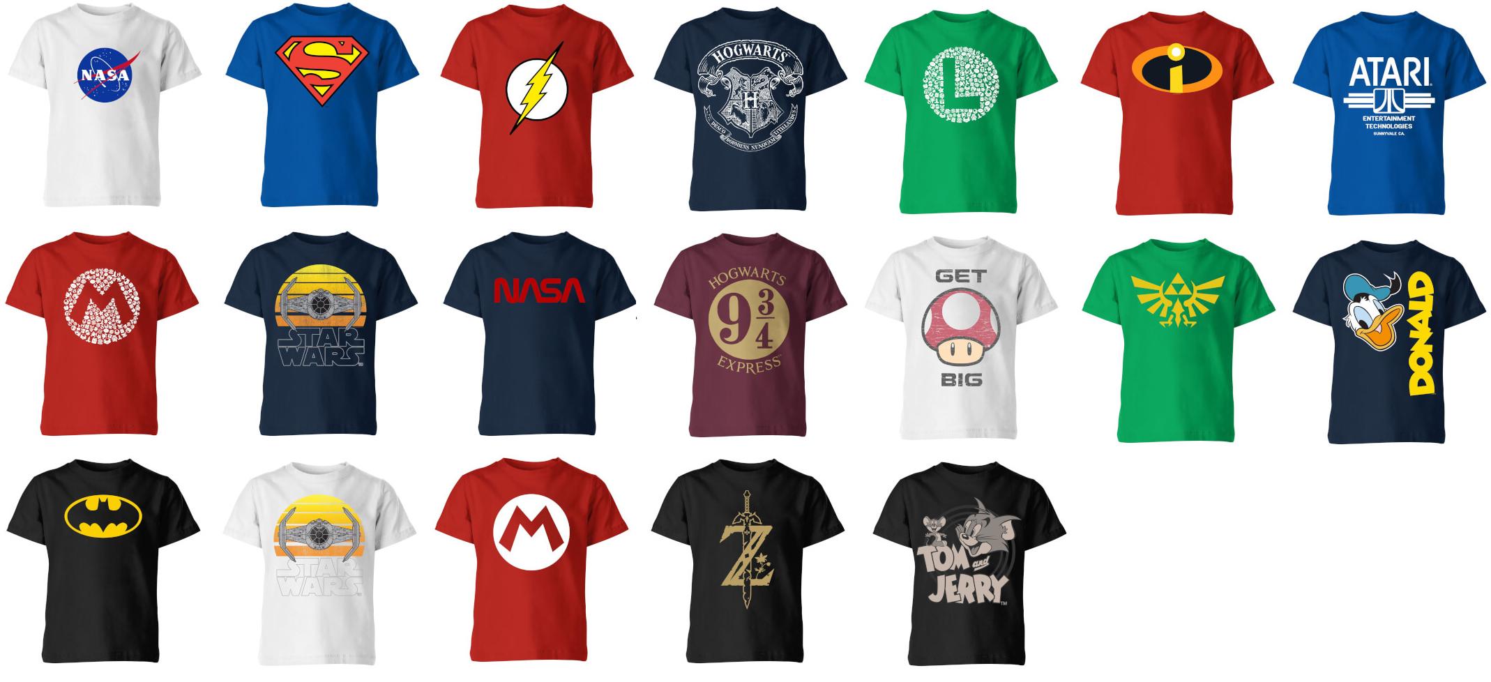 Kids merchandise t-shirts 2 stuks voor €12,99 (normale prijs tot €35,98) @ Zavvi