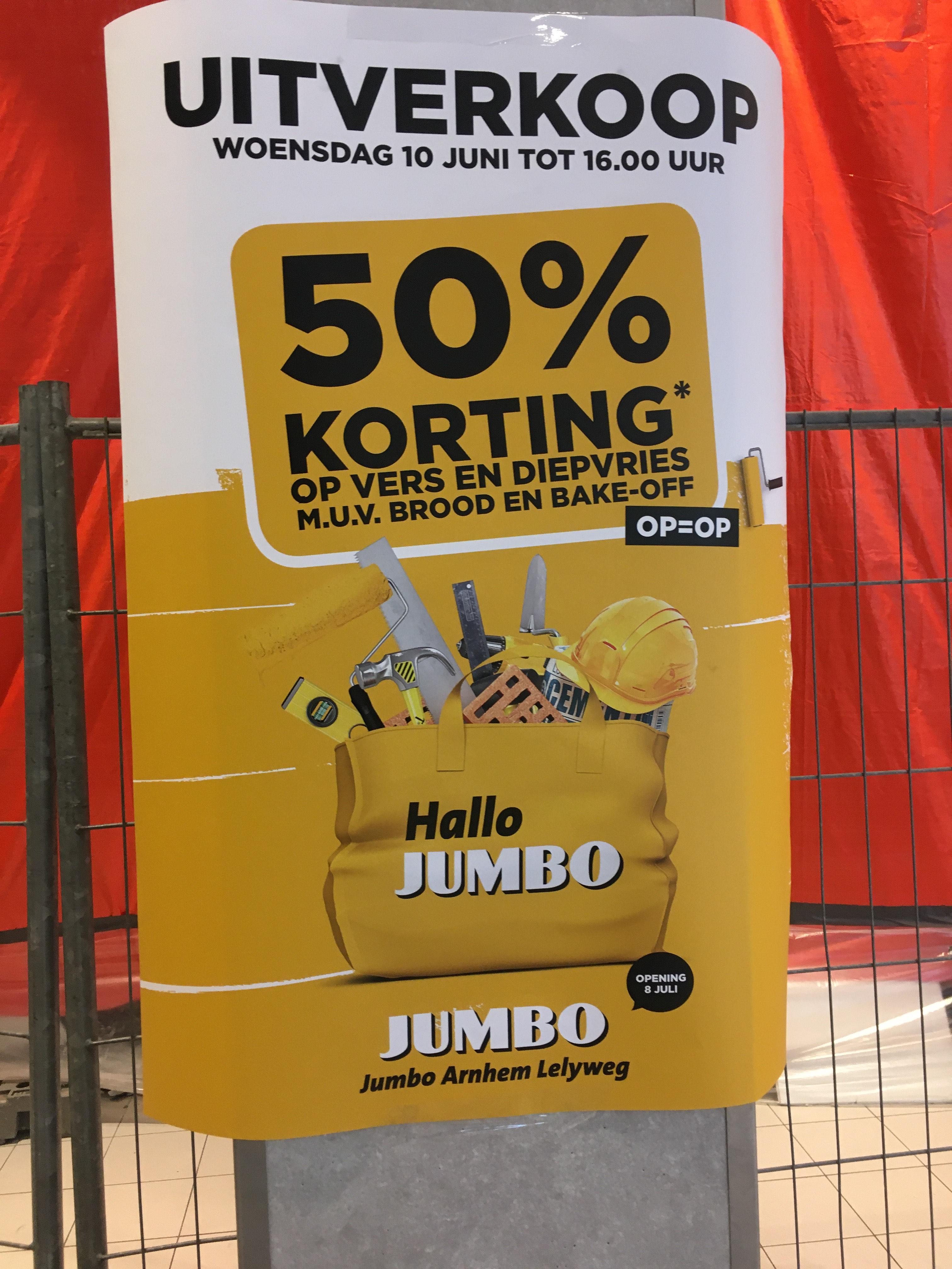 Lokaal - Arnhem 50% korting op alle vers en diepvries.