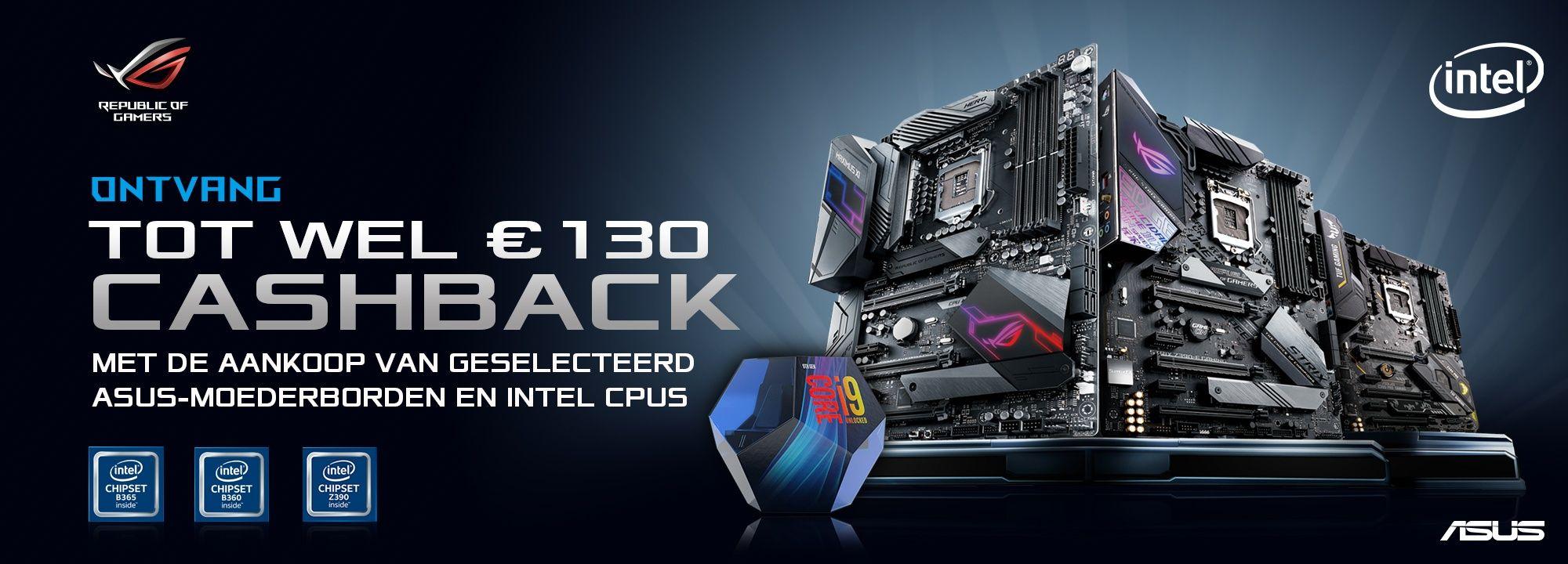 Cashback bij Asus moederbord + Intel CPU