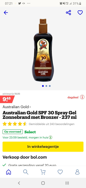 50% korting op diverse zonnebrandcrèmes en aftersun bij bol, ook op Australian Gold.