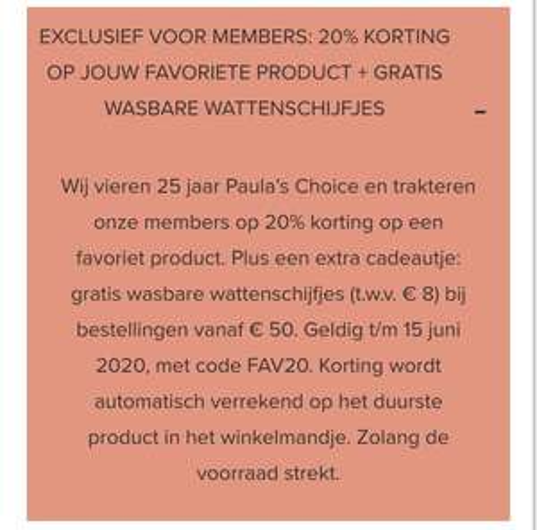 20% memberkorting bij Paula's Choice + gratis verzending
