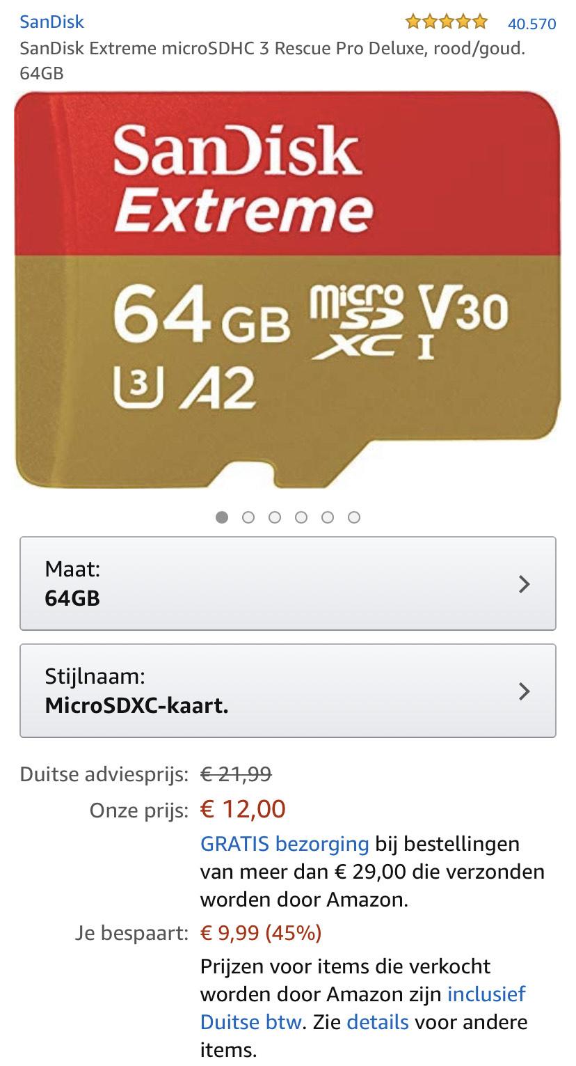 SanDisk Extreme 64GB SD-CARD v30 met Adapter