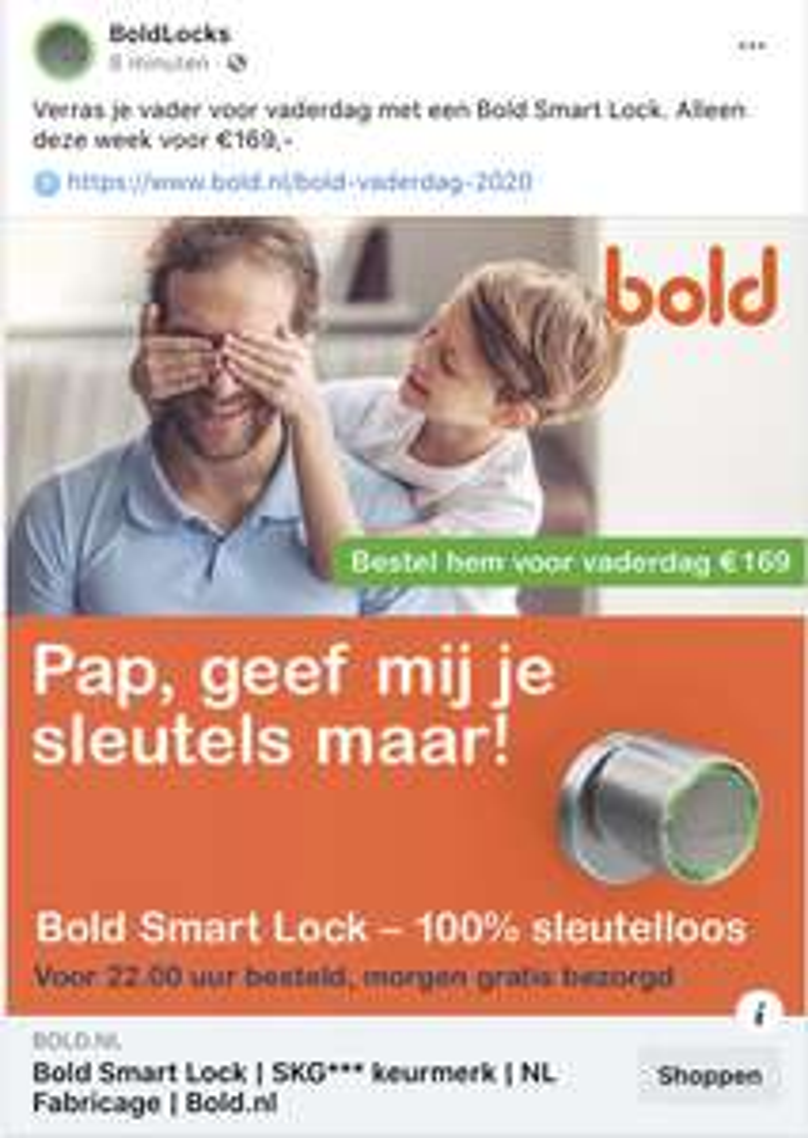 Bold Smart Lock weer voor speciale prijs voor vaderdag