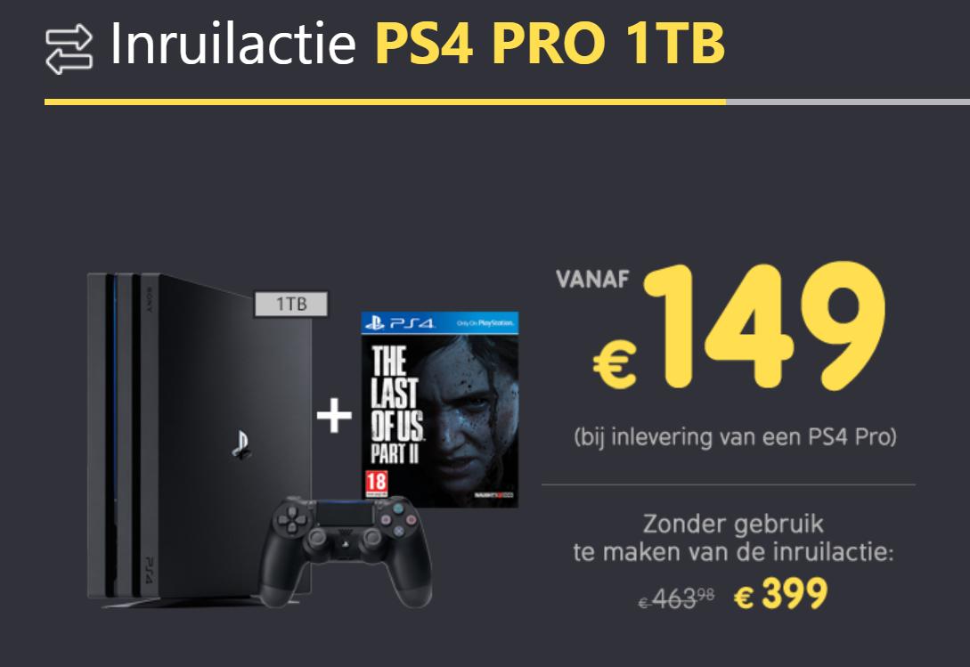 Inruilactie PS4 PRO 1TB en PS4 SLIM 500GB