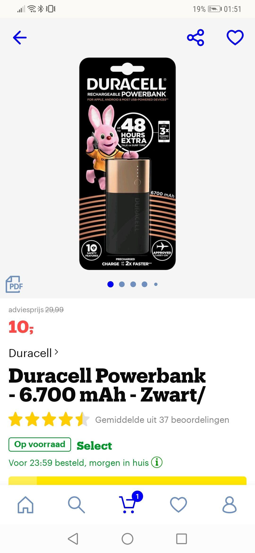 Duracell powerbank 6.700mah (bol.com)