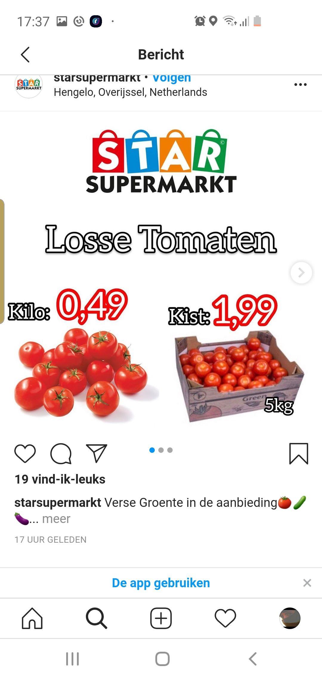 Kist tomaten 5 kilo 1.99 hengelo star supermarkt