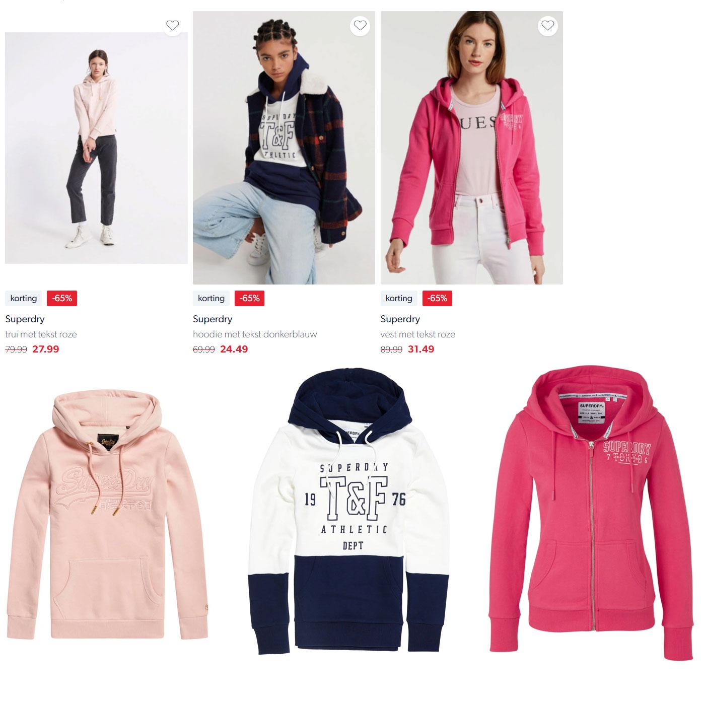 Superdry dames hoodies -65% @ Wehkamp