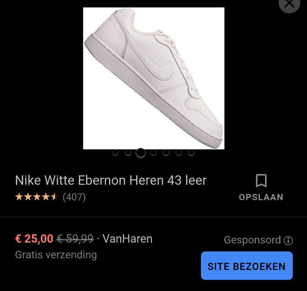 Nike witte/zwarte ebanon heren (leer)