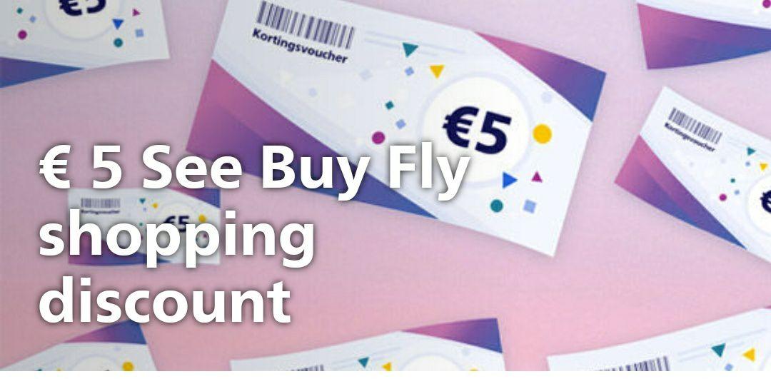 €5 korting bij Schiphol shopping, geldig vanaf een minimale besteding van €25