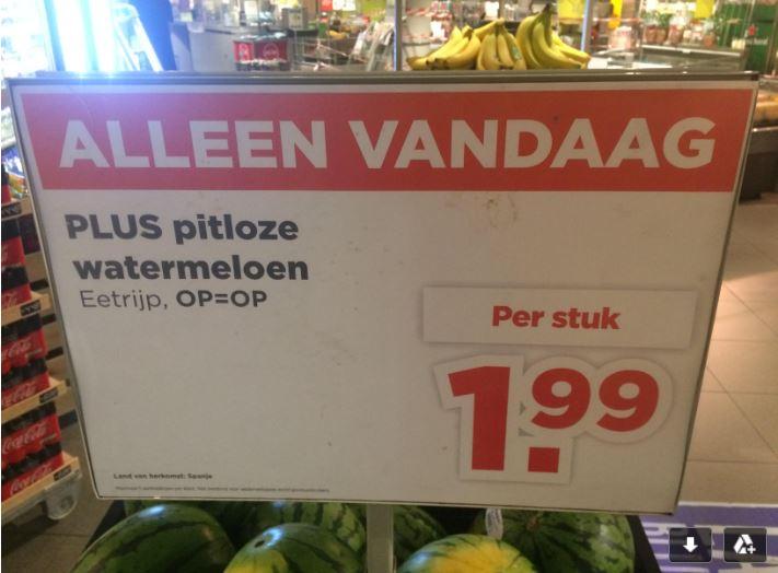 Pitloze Watermeloen van 2,5 kilo voor €2