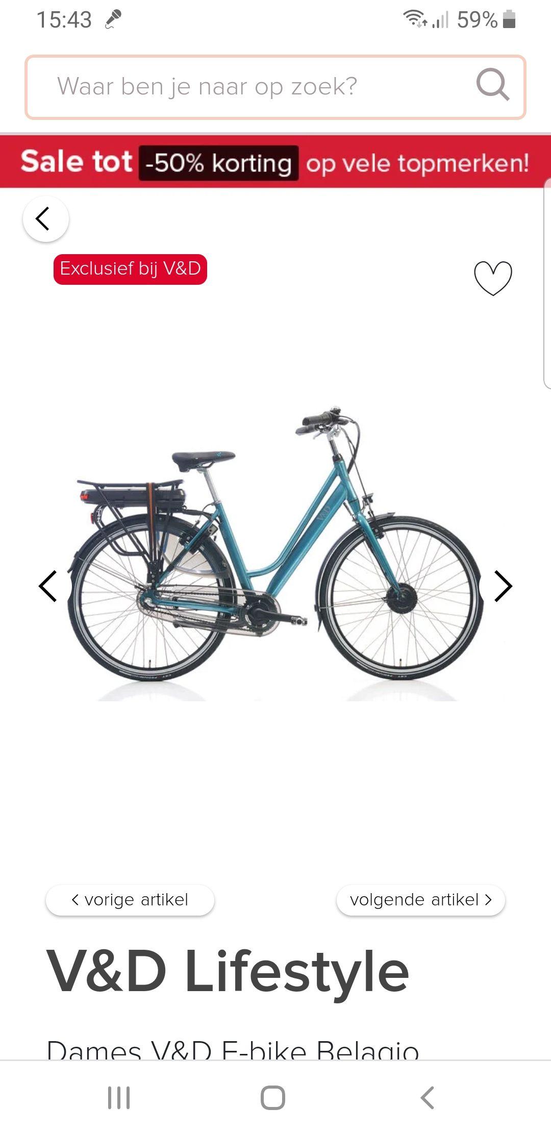 Elektrische fiets V&D vanaf 799 euro