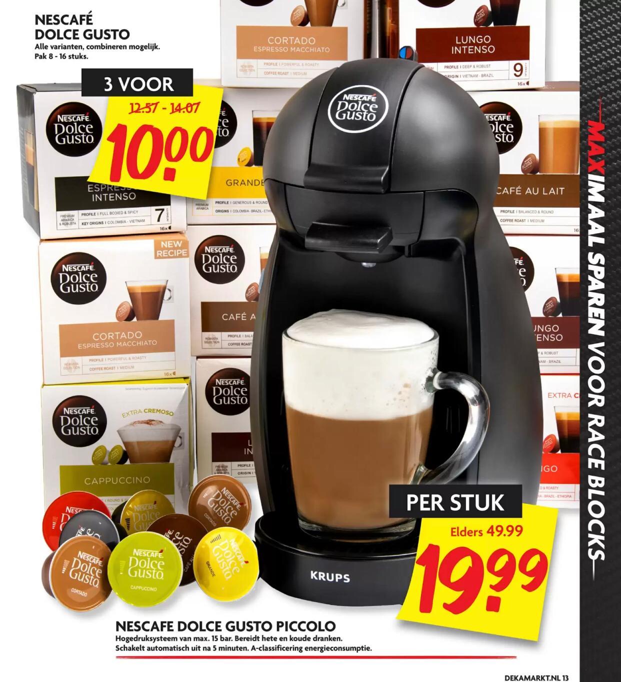 @DekaMarkt Dolce Gusto Piccolo voor €19,99 // 3 doosjes Dolce Gusto koffie voor €10