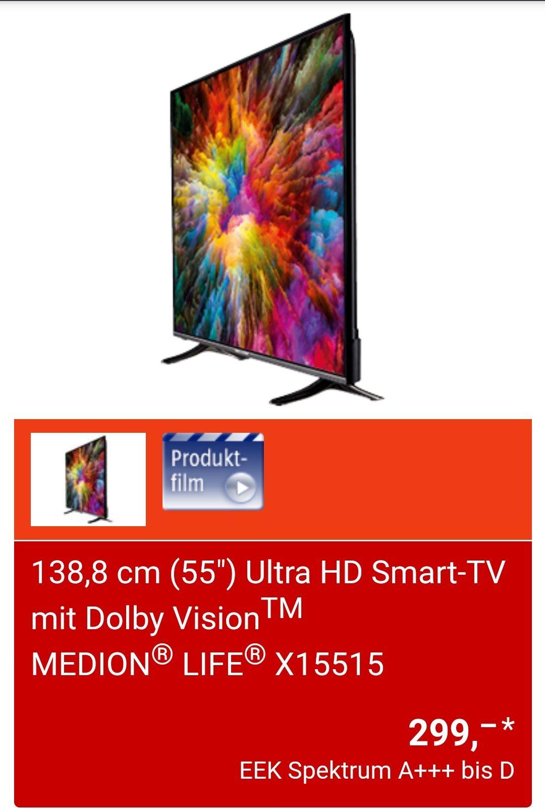 Grensdeal Aldi Duitsland Medion Life X15515 55inch Uhd TV