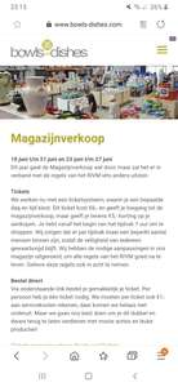 Magazijn uitverkoop Bowls and Dishes (lokaal, Tilburg)