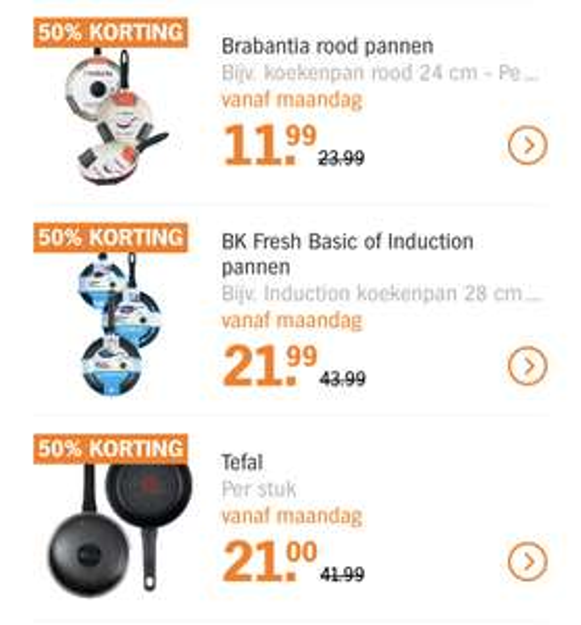 50% op pannen van Tefal, Brabantia en BK