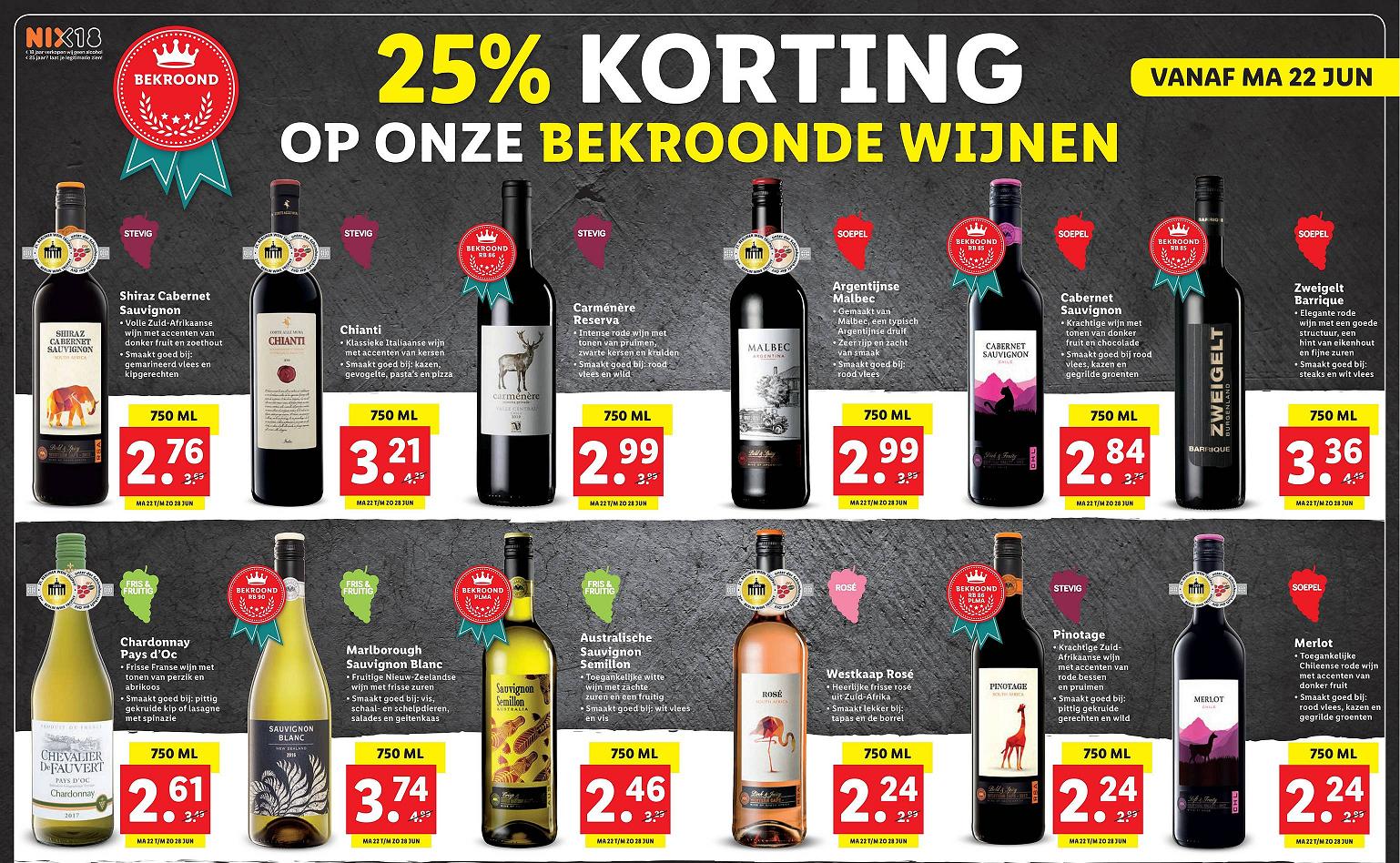Super goedkope bekroonde wijn bij Lidl - vanaf €2,24 per 750ml