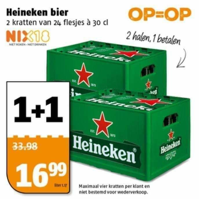 Heineken bier 1+1 gratis @Poiesz