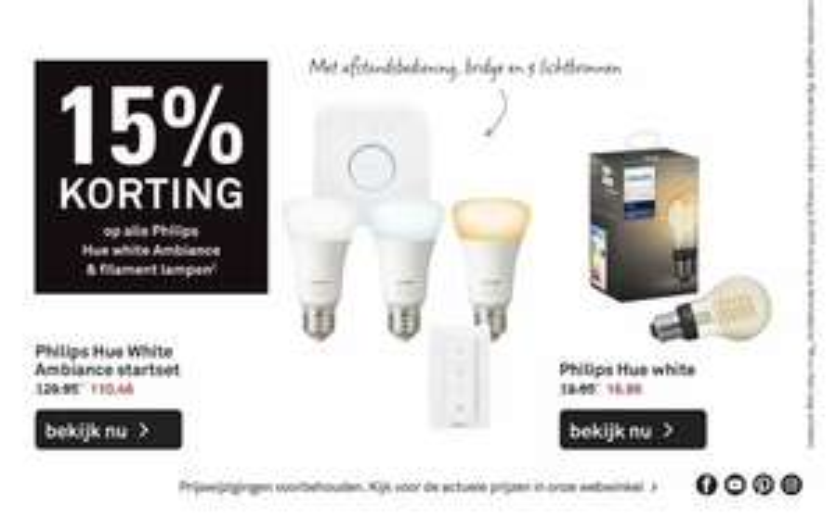15% korting Philips Hue white ambiance en filament lampen