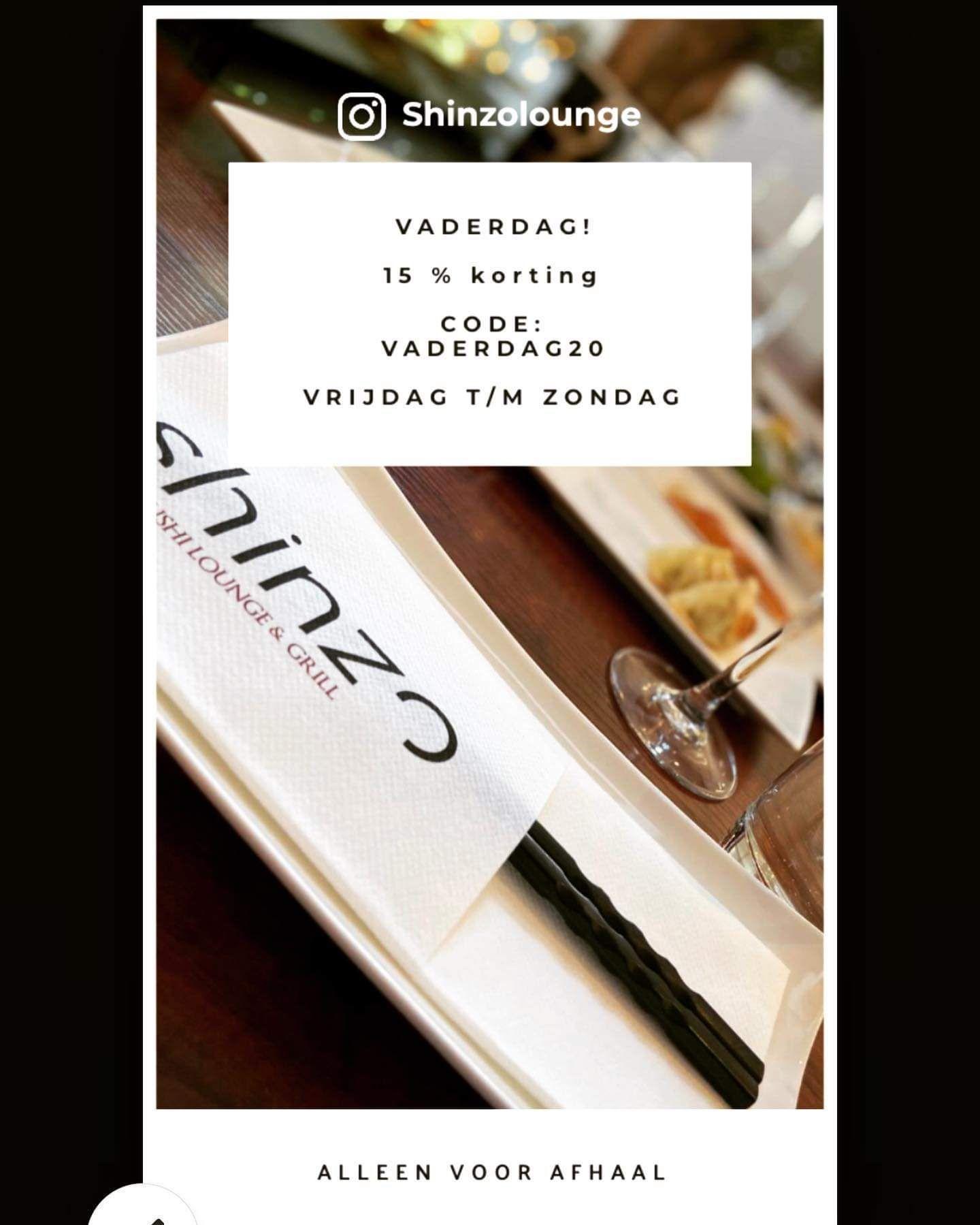 Shinzo sushi, 15% vaderdagkorting (bij afhalen) [Lokaal, Tilburg]