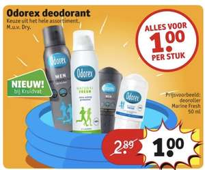 Odorex €1,00 ook de extra dry depper