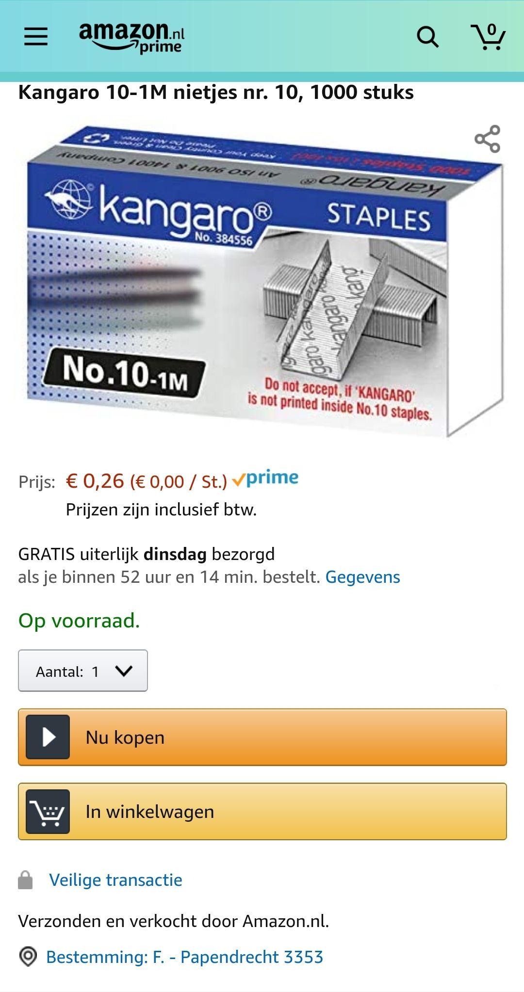 1000 nietjes €0,26 @ Amazon.nl