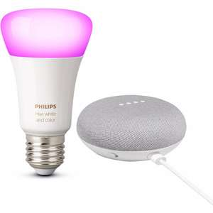 Google Home mini en de Philips Hue Color and White Ambiance E27